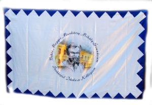 selyem zászló, digitális nyomtatással